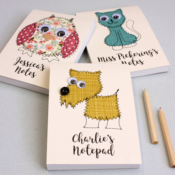 Personalised Owl Embroidered Notepad - ZoeGibbons