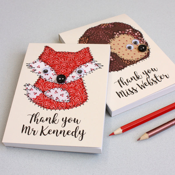 Personalised Embroidered Hedgehog Notepad - ZoeGibbons