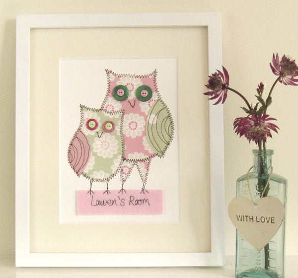 Personalised Owl Pair Embroidered Artwork - ZoeGibbons