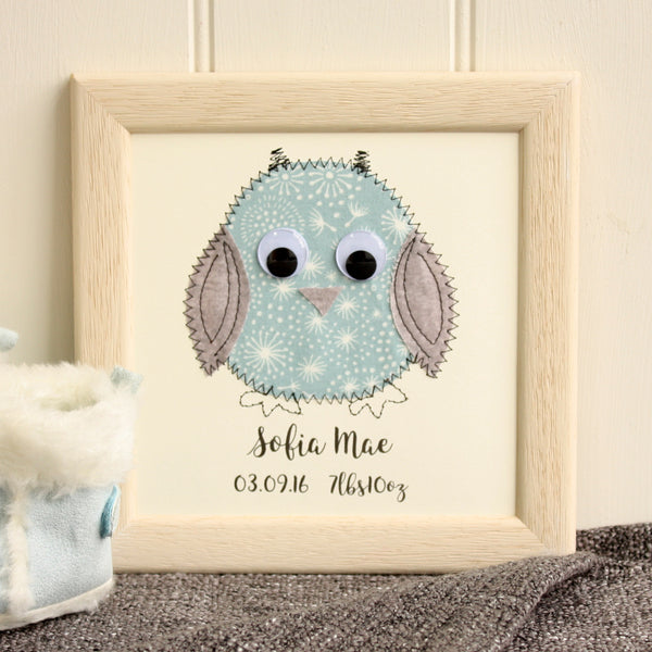 Personalised Baby Owl Embroidered Plaque - ZoeGibbons
