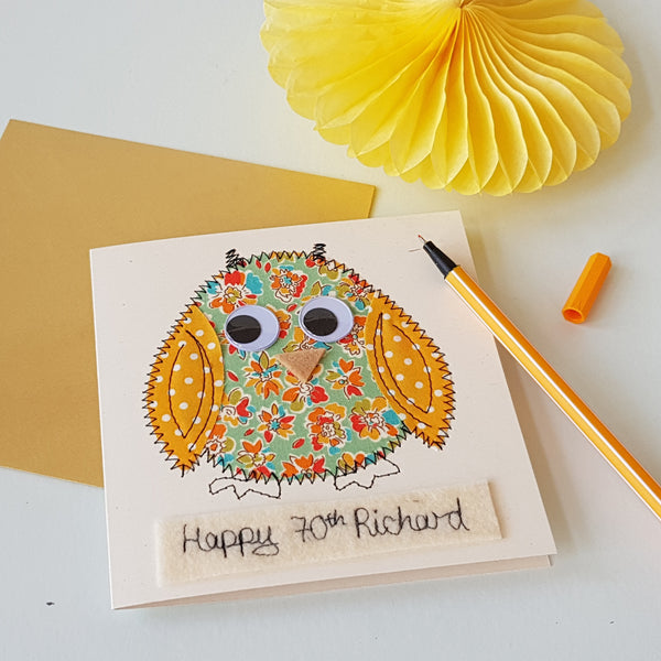 Personalised Owl Embroidered Card