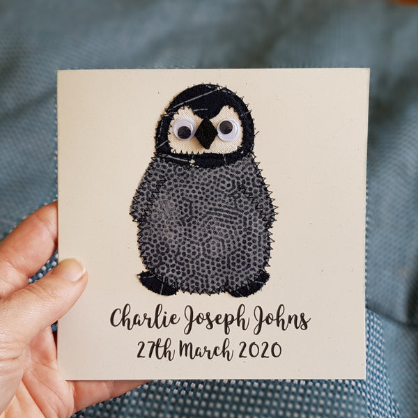 Personalised Baby Penguin Embroidered Card - ZoeGibbons
