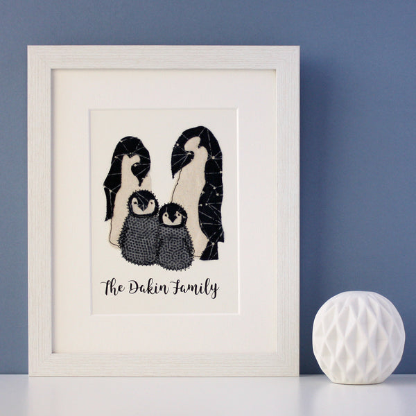 Personalised embroidered penguin family artwork - ZoeGibbons