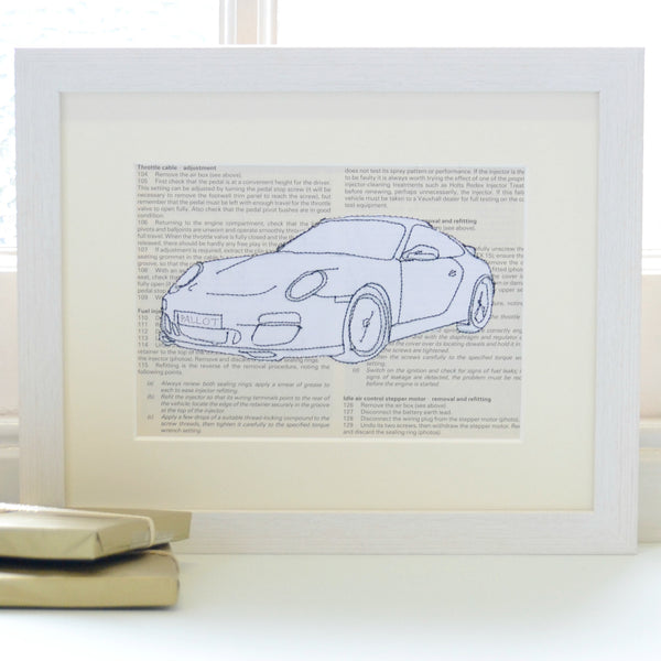 Personalised Porsche Embroidered Artwork - ZoeGibbons