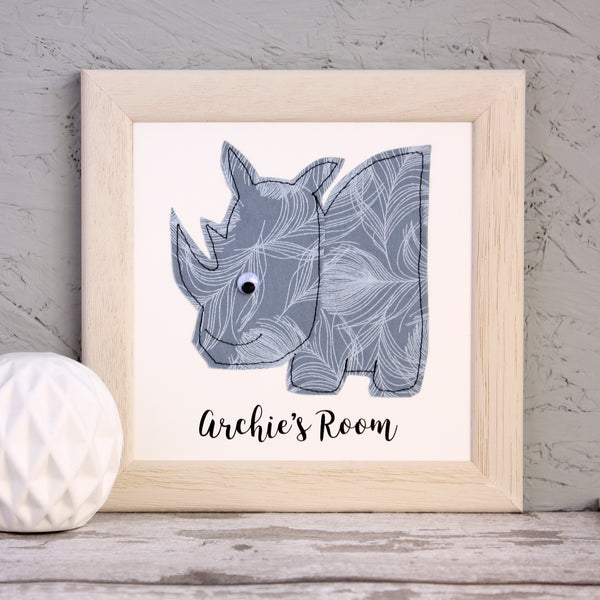 Personalised Baby Rhino Embroidered Framed Artwork - ZoeGibbons