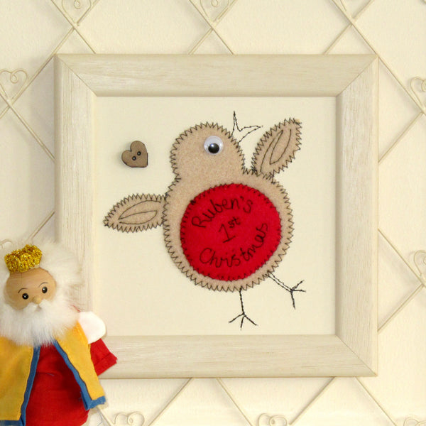 Personalised Robin Embroidered Plaque - ZoeGibbons