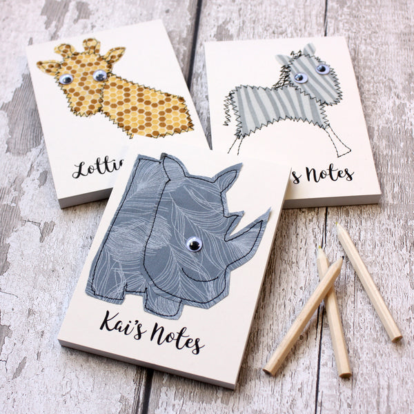 Personalised Safari Animal Embroidered Notepad