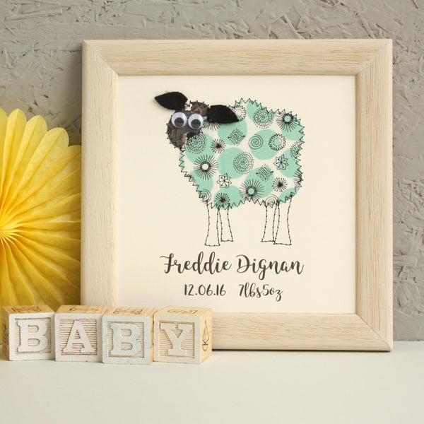 Personalised Sheep Embroidered Plaque - ZoeGibbons