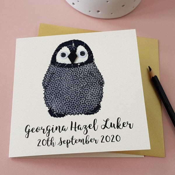 Personalised Baby Penguin Embroidered Card