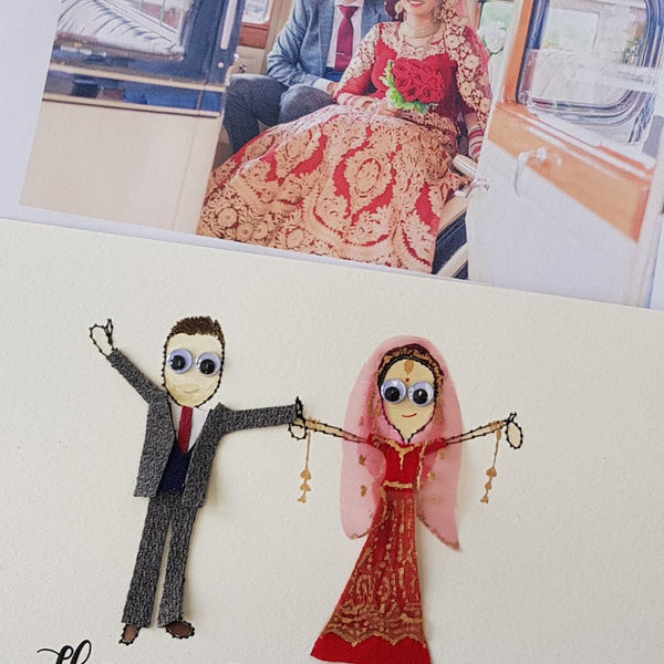 Personalised Couple with pets embroidered artwork - ZoeGibbons