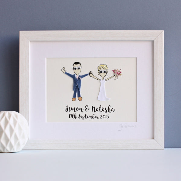 Personalised Couple with children/pets embroidered artwork - ZoeGibbons