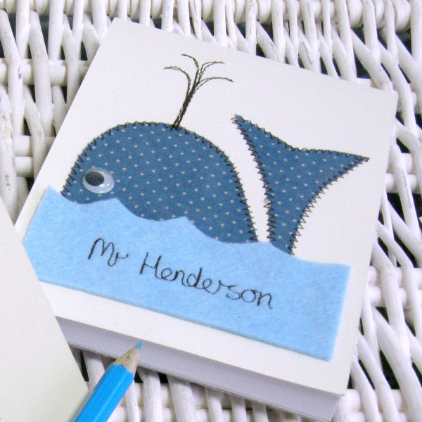 Personalised Whale Embroidered Notepad - ZoeGibbons