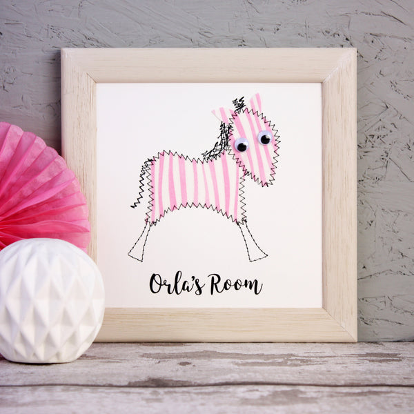 Personalised Zebra Embroidered Framed Artwork - ZoeGibbons