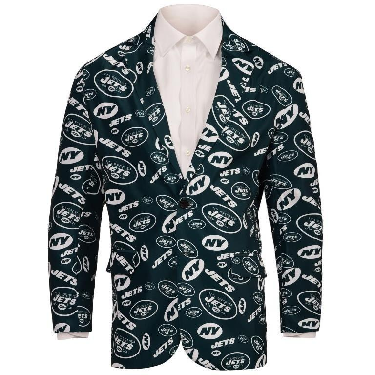 newest 915dc da063 New York Jets NFL Mens Repeat Print Business Jacket
