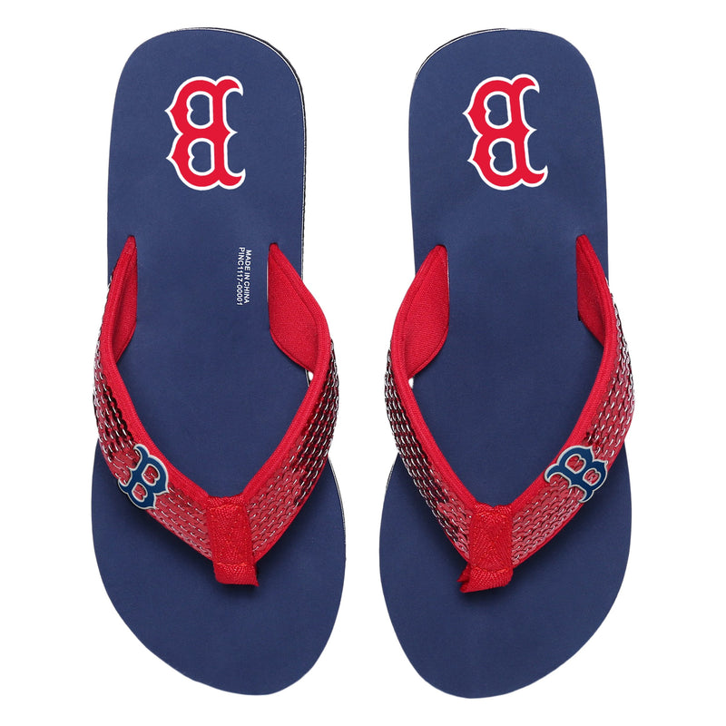 3242f86a Boston Red Sox MLB Womens Sequin Flip Flops