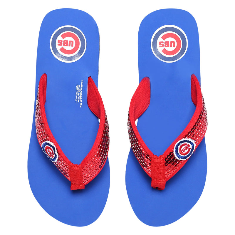 26db495d7ad54b Chicago Cubs MLB Womens Sequin Flip Flops