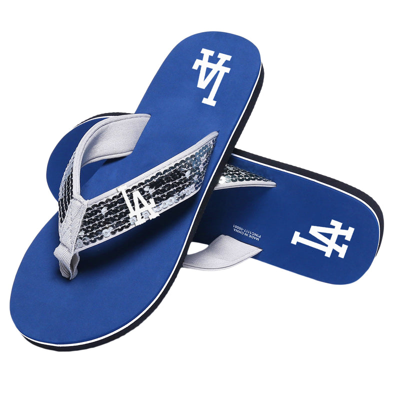 c338aedaada797 Los Angeles Dodgers MLB Womens Sequin Flip Flops