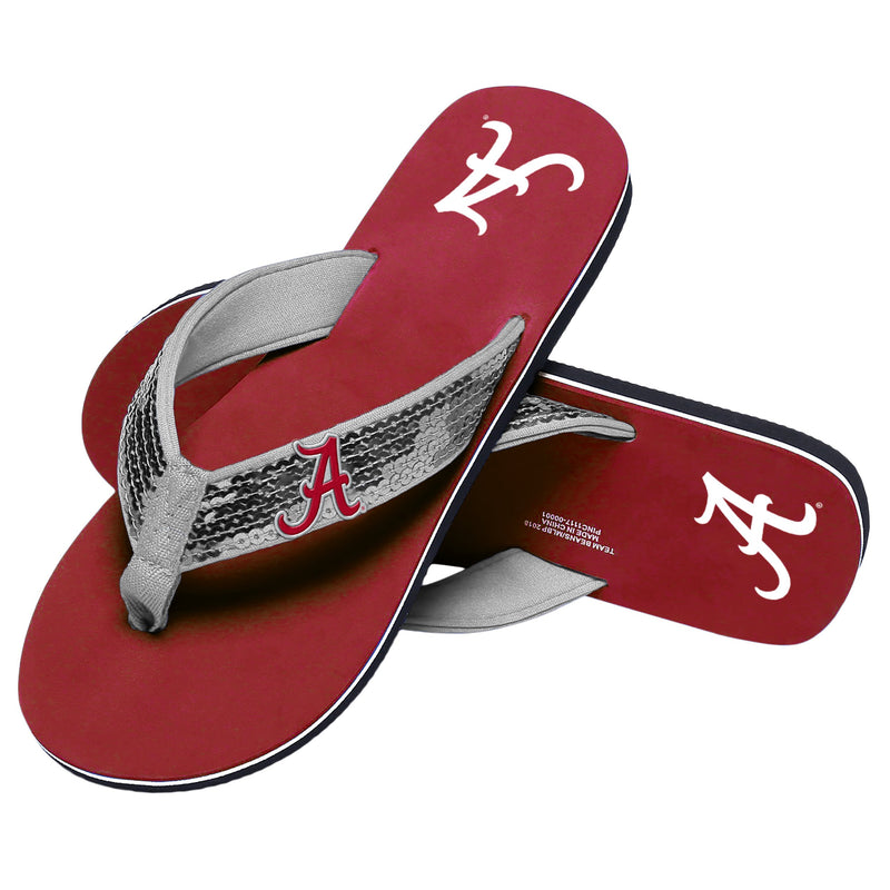 fce339b13a3f3c Alabama Crimson Tide NCAA Womens Sequin Flip Flops