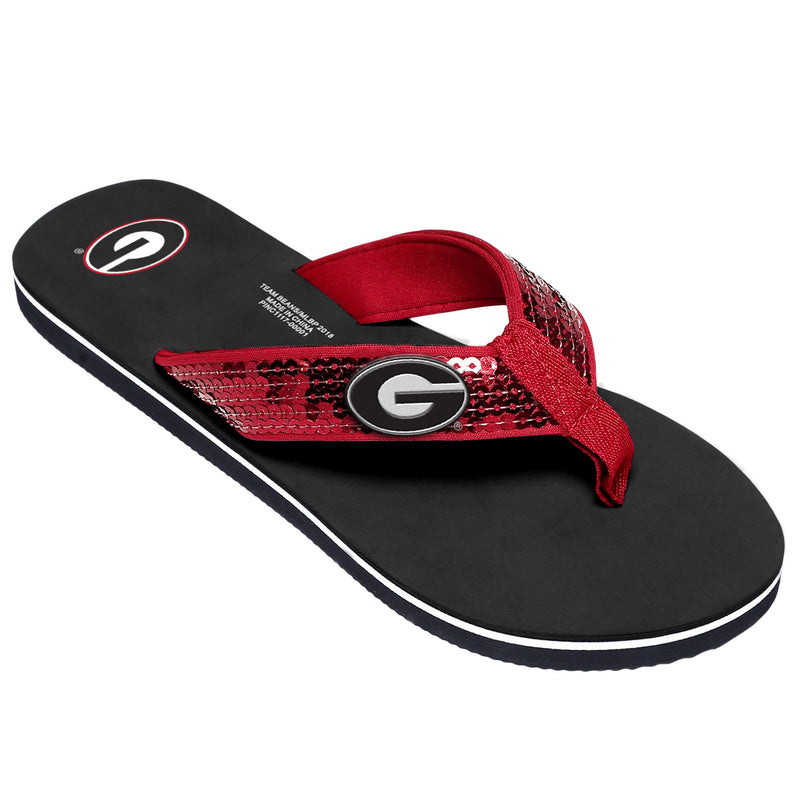 327a718ed64209 Georgia Bulldogs NCAA Womens Sequin Flip Flops