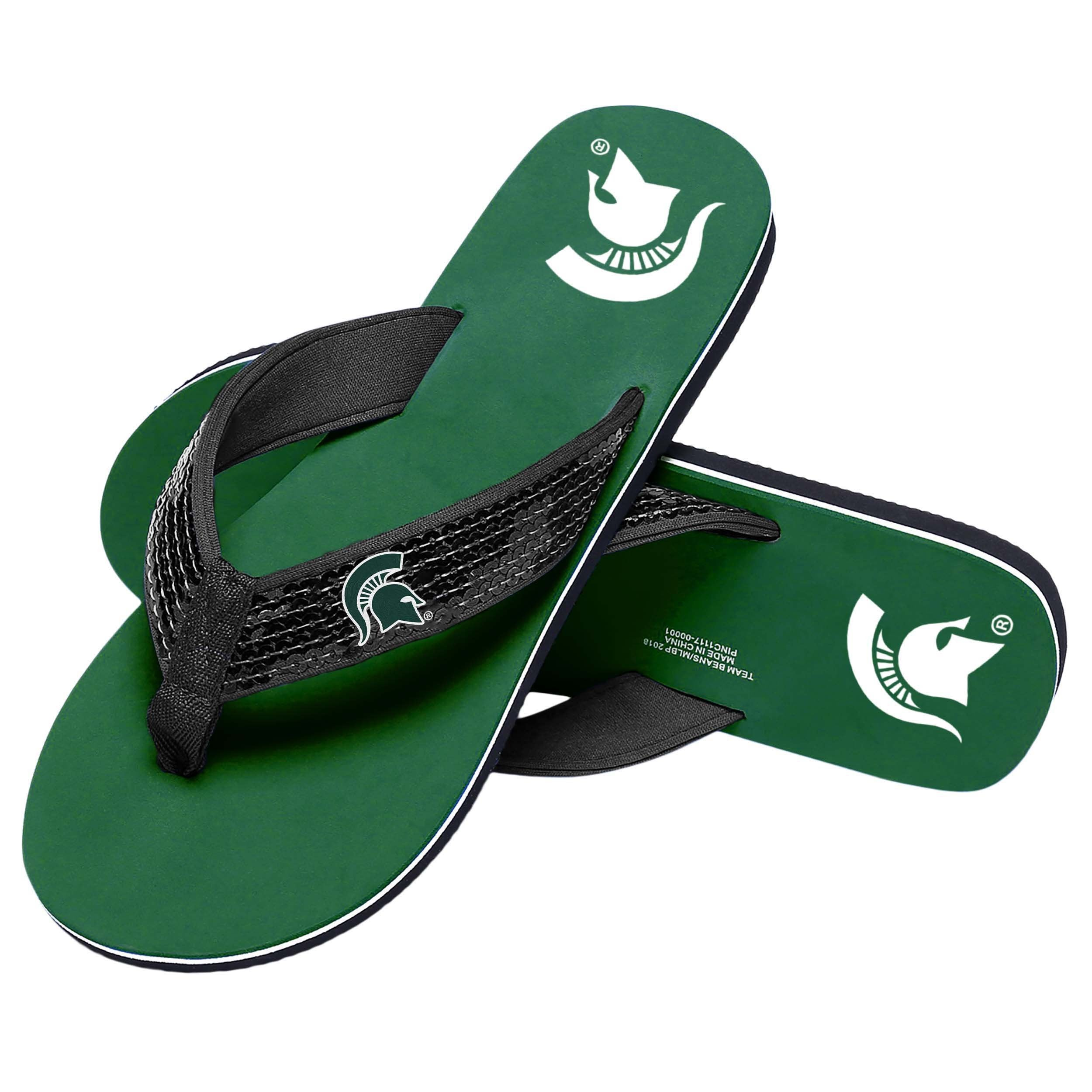 ac858084 Michigan State Spartans NCAA Womens Sequin Flip Flops