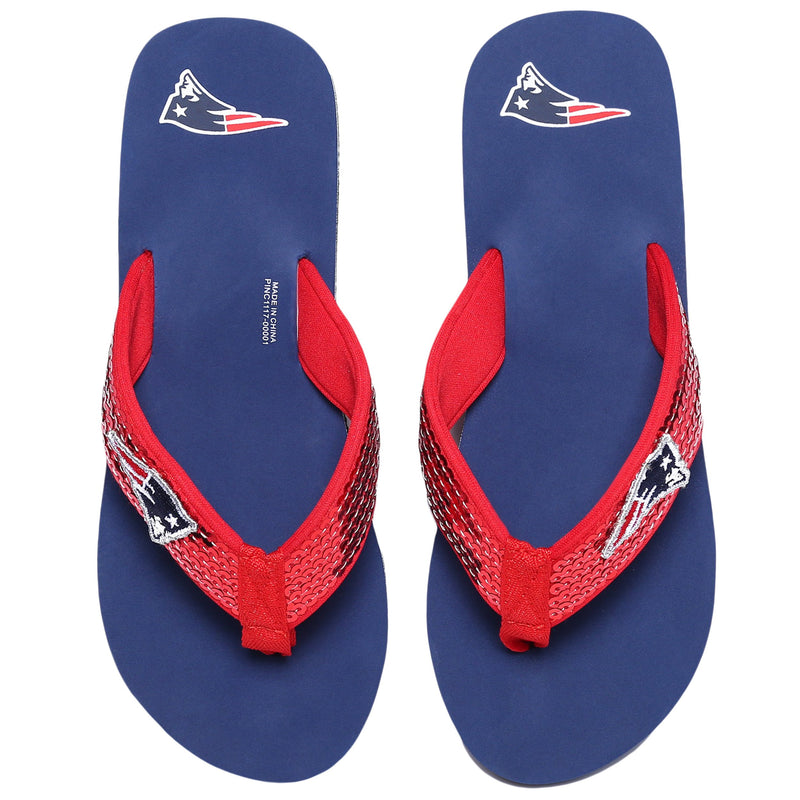 56fcf6afb006a2 New England Patriots NFL Womens Sequin Flip Flops