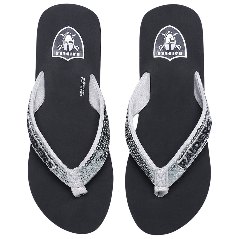 fa54b7a18 Oakland Raiders NFL Womens Sequin Flip Flops