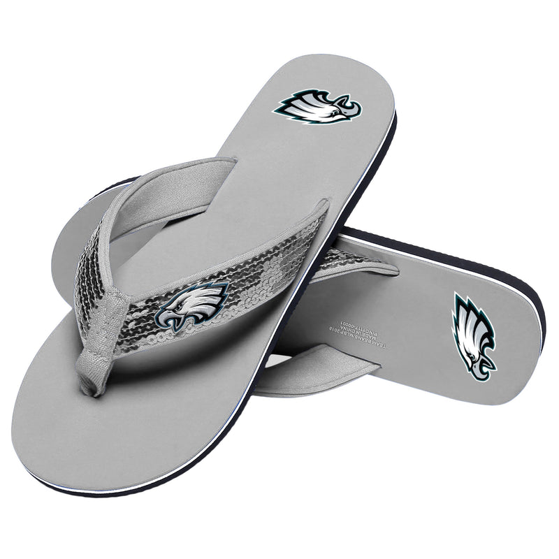 b77b522a9 Philadelphia Eagles NFL Womens Sequin Flip Flops