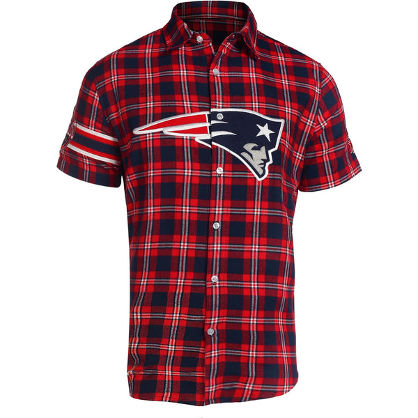 New England Patriots NFL Mens Colorblock Short Sleeve Flannel Shirt 5cbc18765