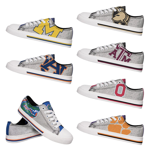 20c43d24 NCAA Womens Glitter Low Top Canvas Shoes - Pick Your Team (PREORDER - SHIPS  IN