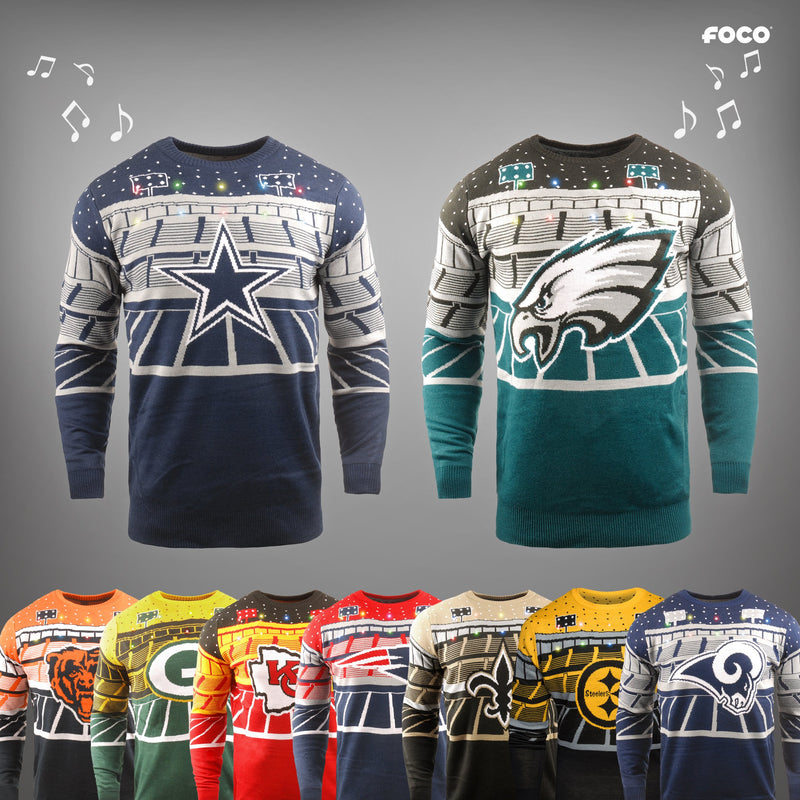 reputable site 5da5f 16bd3 NFL Light Up Ugly Christmas Sweater With Bluetooth Speaker