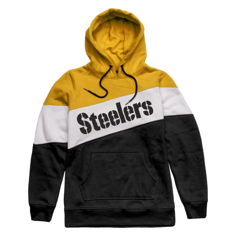 new styles 36ff2 3ef26 Pittsburgh Steelers Mens Wordmark Colorblock Hoodie