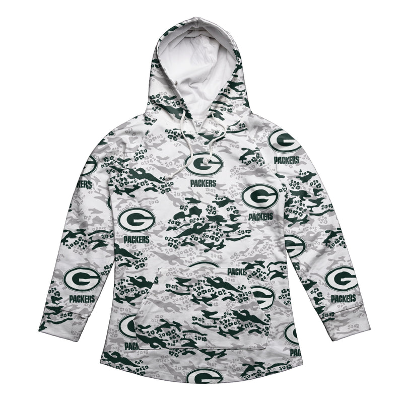 outlet store 6a843 a0196 Green Bay Packers Womens Leopard Camo Hoodie