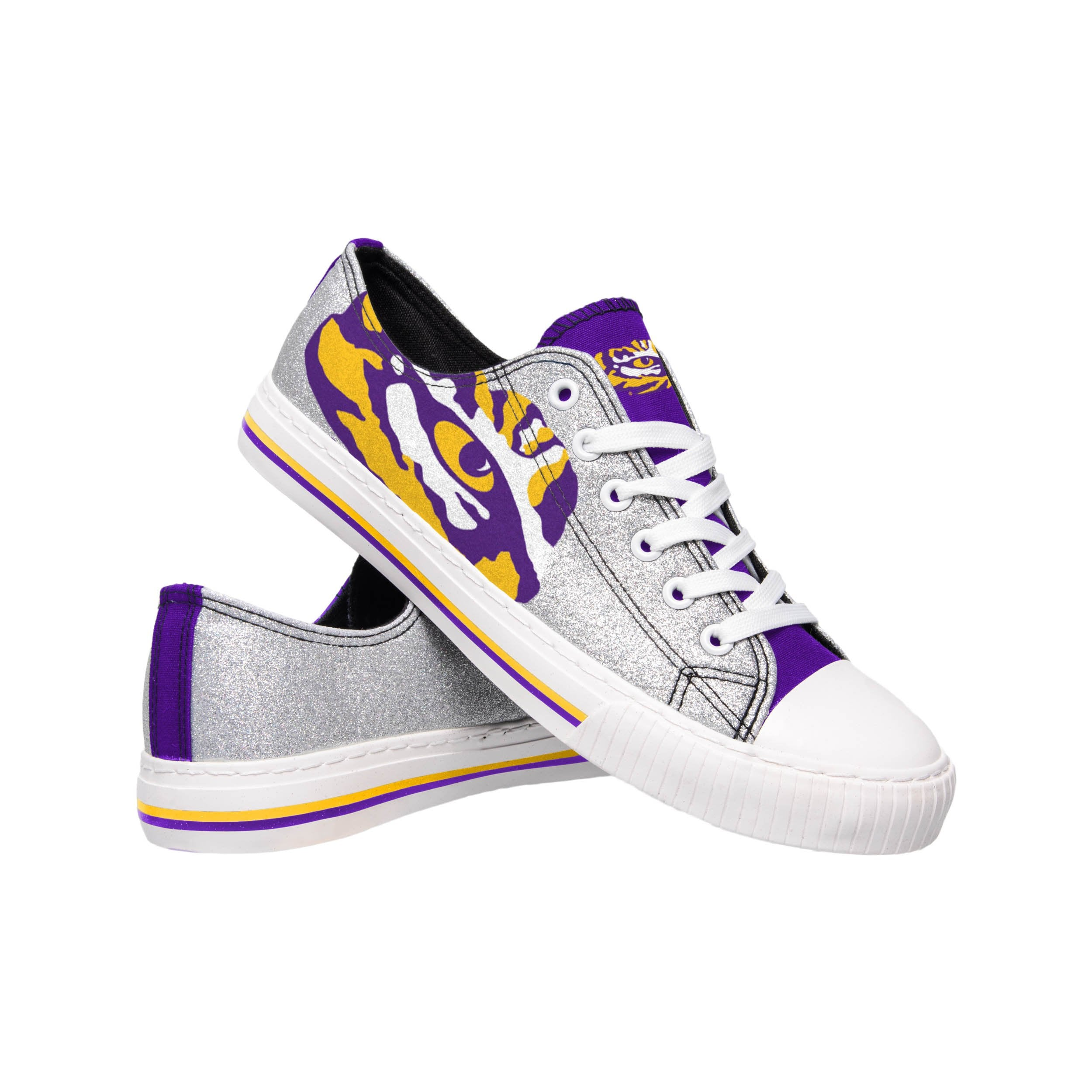 55113d187239 LSU Tigers NCAA Womens Glitter Low Top Canvas Shoes