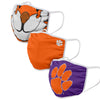 Clemson Tigers NCAA Mascot 3 Pack Face Cover