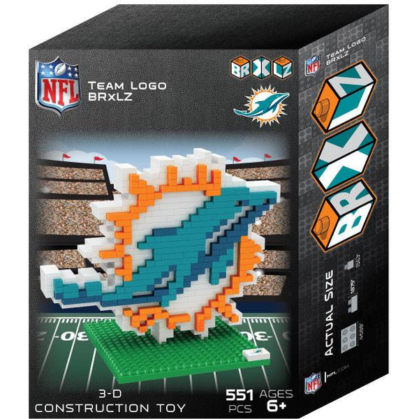 Miami Dolphins NFL 3D BRXLZ Puzzle Team Logo (PRE ORDER - Delivered By 12-19)