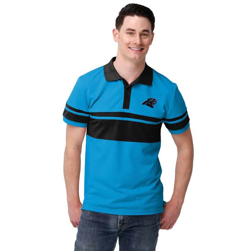 huge selection of 0a984 06ae9 Carolina Panthers NFL Mens Cotton Stripe Polo Shirt