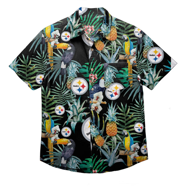 b788b5aed07 Pittsburgh Steelers NFL Mens Floral Button Up Shirt