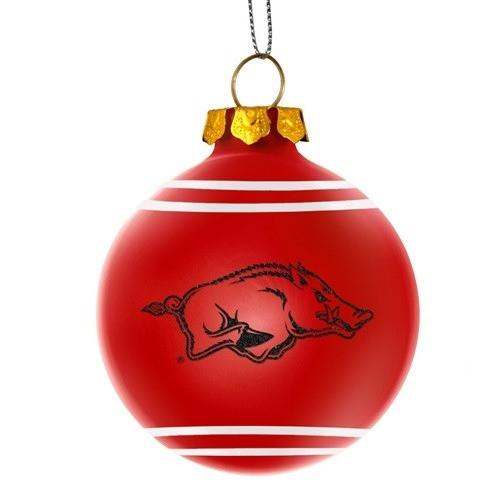 7a67c156 Arkansas Razorbacks NCAA 2014 Glitter Logo Glass Ball Ornament