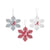 Alabama Crimson Tide 3 Pack Metal Glitter Snowflake Ornament