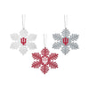 Indiana Hoosiers NCAA 3 Pack Metal Glitter Snowflake Ornament