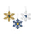 West Virginia Mountaineers 3 Pack Metal Glitter Snowflake Ornament