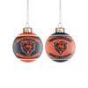 Chicago Bears NFL 2 Pack Glass Ball Ornament Set