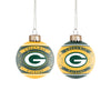 Green Bay Packers NFL 2 Pack Glass Ball Ornament Set