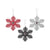 Atlanta Falcons NFL 3 Pack Metal Glitter Snowflake Ornament