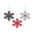Tampa Bay Buccaneers 3 Pack Metal Glitter Snowflake Ornament