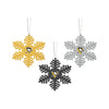 Pittsburgh Penguins NHL 3 Pack Metal Glitter Snowflake Ornament