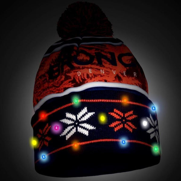 Denver Broncos NFL Wordmark Light Up Printed Beanie
