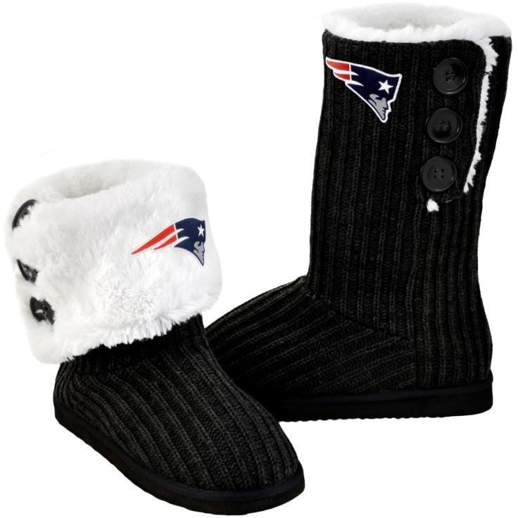 dfe8abf0cd1 New England Patriots NFL Knit High End Button Boot Slipper
