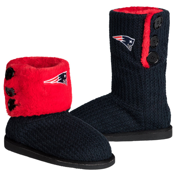 9c9f89ae18c New England Patriots NFL Womens Knit Team Color High End Button Boot  Slippers