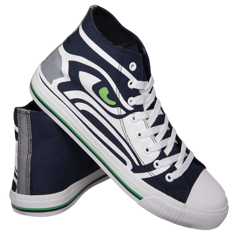 Seattle Seahawks NFL Mens High Top Big Logo Canvas Shoes